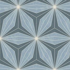 Blue geometric flowers