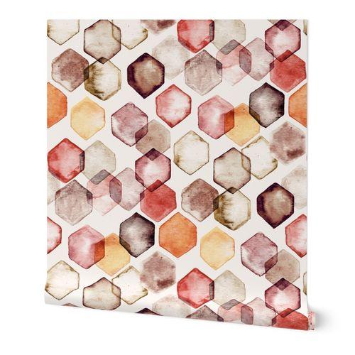 Autumn Bokeh - Watercolour Hexagons