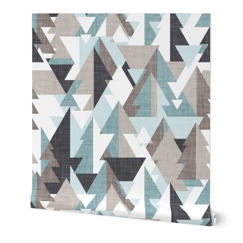 Geo forest // large jumbo scale // duck egg and oyster green mulled wine and almond frost brown and stark white geometric triangular pine trees