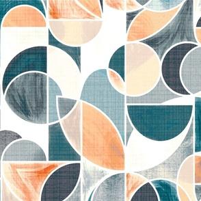 Paint Washed Modern Geometric - Teal & Peach