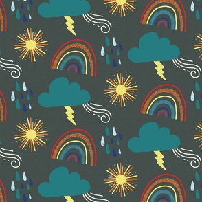 Arizona Monsoon Textured Rainbow and Clouds Pattern