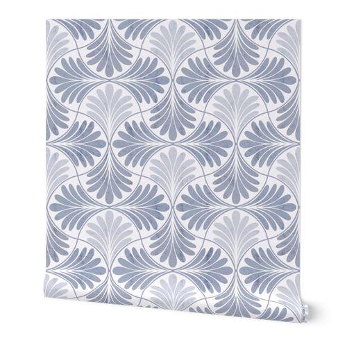 Neutral Art Deco Tiles- Gray Blue