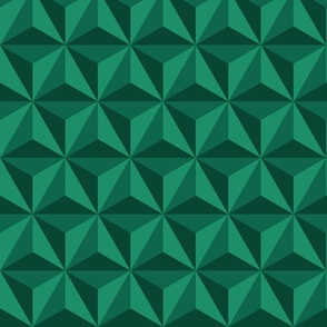 Retro 3D diamonds emerald green panels