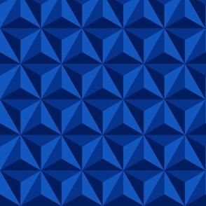 Retro 3D diamonds electric blue panels