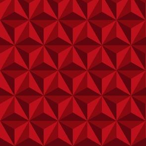 Retro 3D diamonds electric red panels