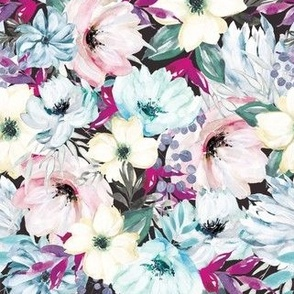 Wintry Watercolor Florals on Black