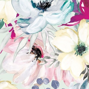 Large Wintry Watercolor Florals on Mint
