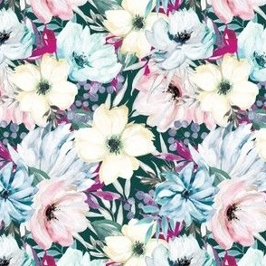 Wintry Watercolor Florals on Teal
