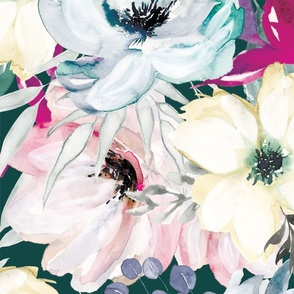 Large Wintry Watercolor Florals on Teal