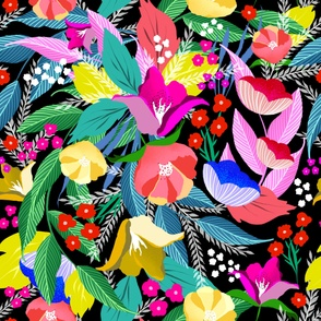 Large Bright Happy Folklore Florals on Black