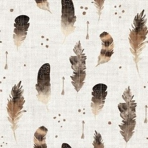 Watercolour feathers all around