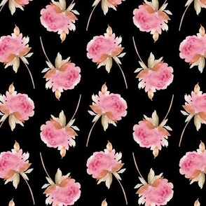 Beautiful Little Pink Roses on Black