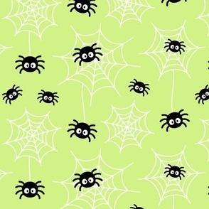 spiders and webs pastel lime green » halloween