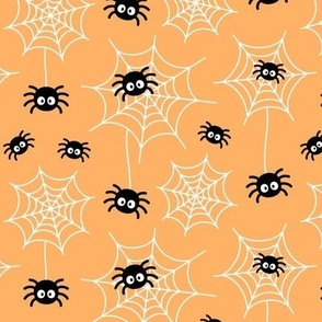 spiders and webs pastel orange » halloween