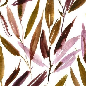 Autumn modern jungle vibes - watercolor leaves - nature branches greenery - forest tree a063-2