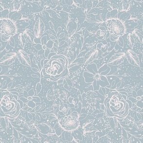 Whimsical Sketched Florals in pale blue