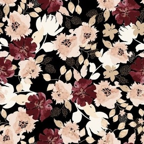 Romantic Rich Red Peach and Black Flowers