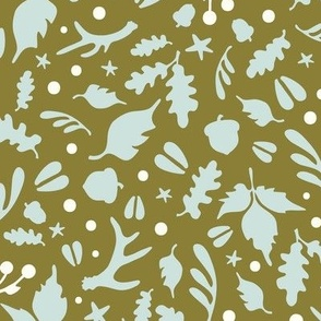 Deerly Beloved scatter print - moss, natural, sea glass