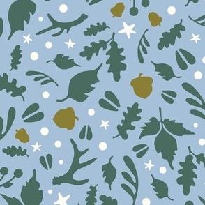 Deerly Beloved scatter print - sky blue, pine, moss, natural