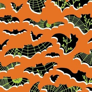 Halloween Bats and Spider Webs - large scale - carot, black, white, lime
