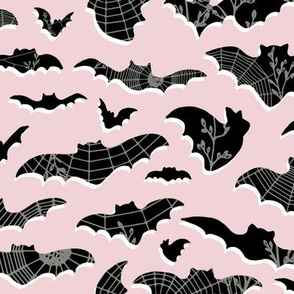 Classic Bats and Spider Webs - large scale - cotton candy, black, white, pewter