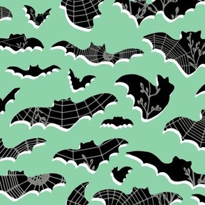 Classic Bats and Spider Webs - large scale - jade, black, white, pewter