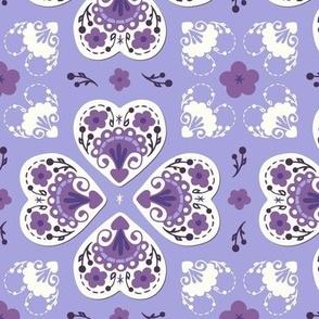 Folk Hearts - lilac, grape, orchid, plum, natural