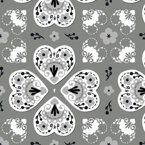 Folk Hearts - pewter, grayscale, black, white