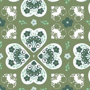 Folk Hearts - sage, pine, jade, sea glass