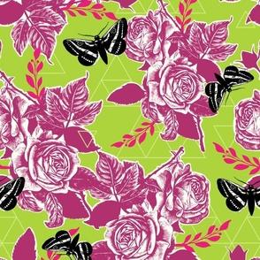 Moth Roses - lime, bubble gum, honey dew, black