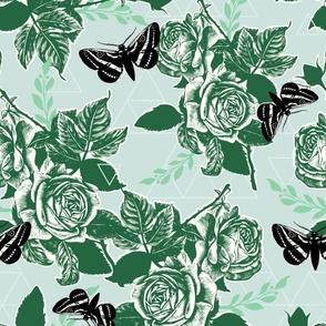 Moth Roses - sea glass, emerald, black, jade, natural