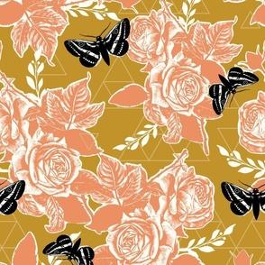 Moth Roses - mustard, peach, honey, black, natural