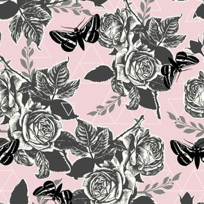 Moth Roses - pewter, grayscale, black, cotton candy pink