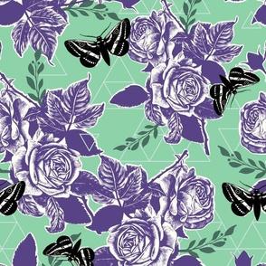 Moth Roses - jade, grape, pine, black, sea glass
