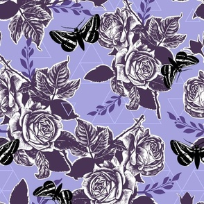 Moth Roses - lilac, plum, black, grape