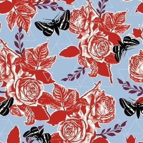Moth Roses - poppy red, wine, sky blue, black