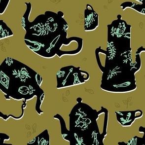 Vintage Tasseography tea leaves - moss, jade, black