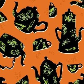 Halloween Vintage Tasseography tea leaves - carrot orange, lime, black