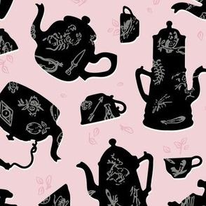 Vintage Tasseography tea leaves - cotton candy, pewter, black