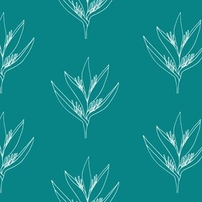 Small // flower-outline-Teal