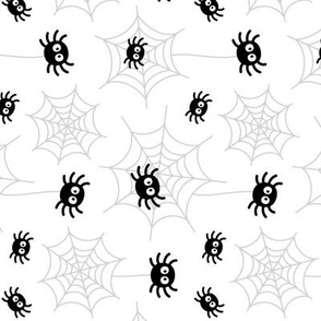 spiders and webs black and white » halloween rotated