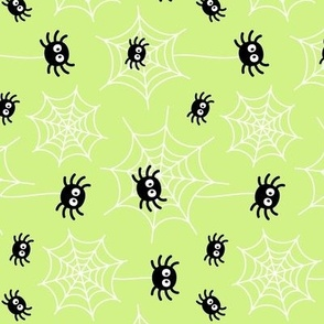 spiders and webs pastel lime green » halloween rotated