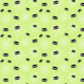 tiny spiders and webs pastel lime green » halloween