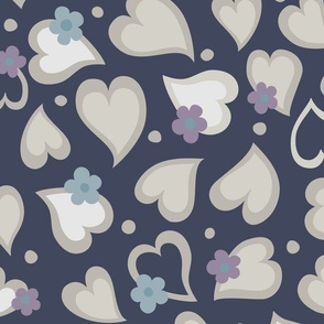 Hearts and Daisies on Navy