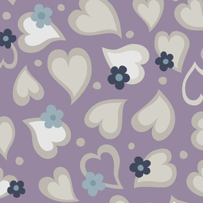 Hearts and Daisies on Purple