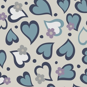 Hearts and Daisies on Gray