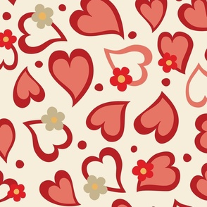Hearts _ Daisies on Taupe