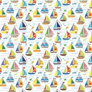 hand drawn sailboat ocean summer doodle pattern super small 3in.