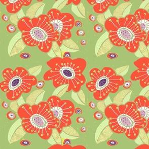 Happy Poppies- Green