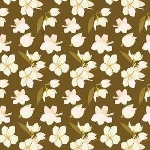 small Pretty Blossoms in peach and ochre